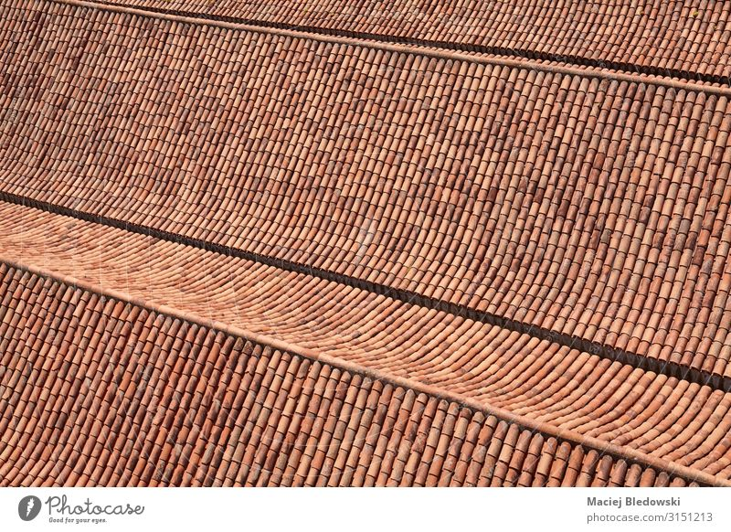 Old clay tile roof background Living or residing House (Residential Structure) Building Architecture Roof Red Clay Tile Ancient exterior Photography Pattern