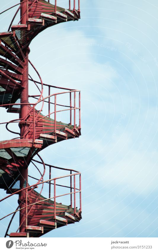 Bottom to top with spiral staircase Sky Clouds Winding staircase Banister Metal Spiral Firm Long Red Safety Arrangement Quality Symmetry Lanes & trails Level