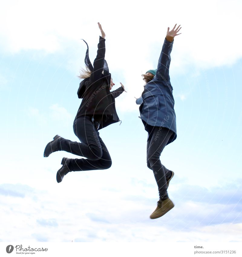 Woman Human being Sky Relaxation Clouds Adults Life Feminine Sports Together Friendship Jump Communicate Blonde Happiness Joie de vivre (Vitality)