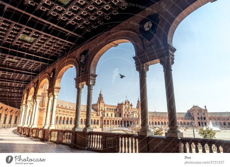 Beautiful architecture of the Plaza de Espana Seville Spain Plaza de España Andalusia Andalucia Europe Town Downtown Old town Deserted Palace Castle Places