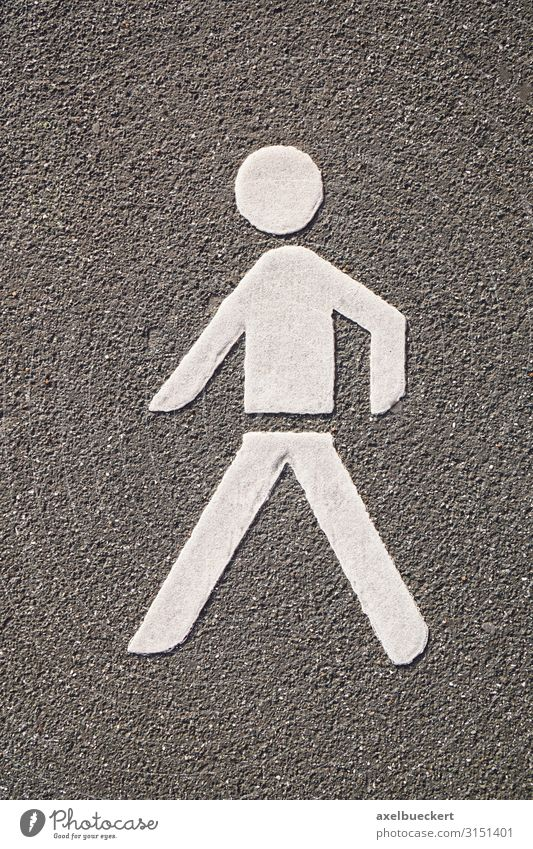 Pedestrian pictogram on asphalt Transport Traffic infrastructure Street Lanes & trails Sign Signs and labeling Road sign Going Symbols and metaphors Asphalt