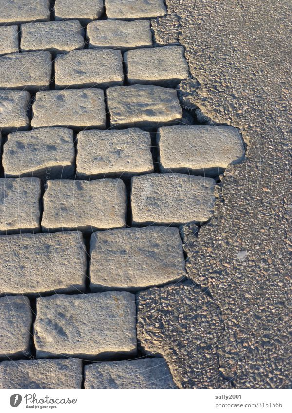 Opposites || on the street... Cobblestones Asphalt Street Difference Pavement Stone Tar Traffic infrastructure Lanes & trails Sidewalk Structures and shapes
