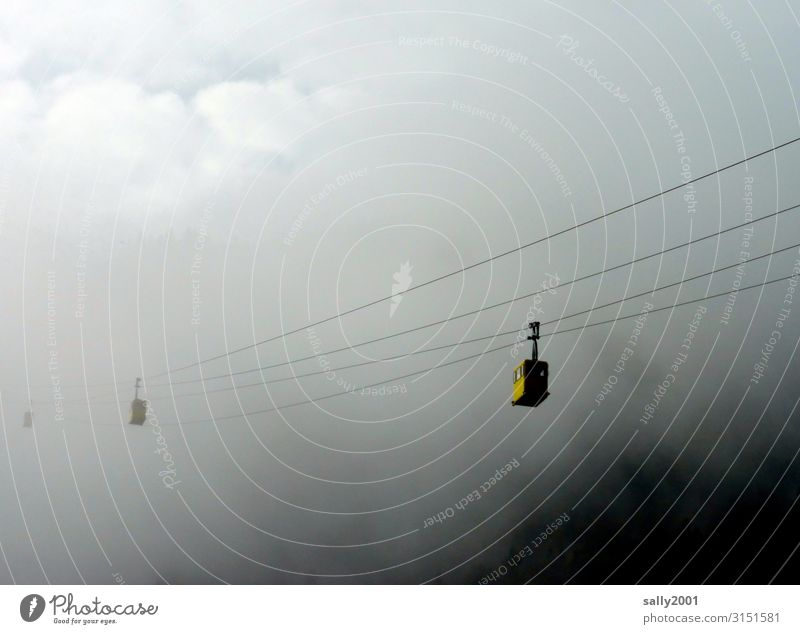 upward Clouds Climate Alps Cable car Gondola Driving Exceptional Threat Dark Adventure Loneliness Contentment Mobility Logistics Fog Misty atmosphere Sea of fog