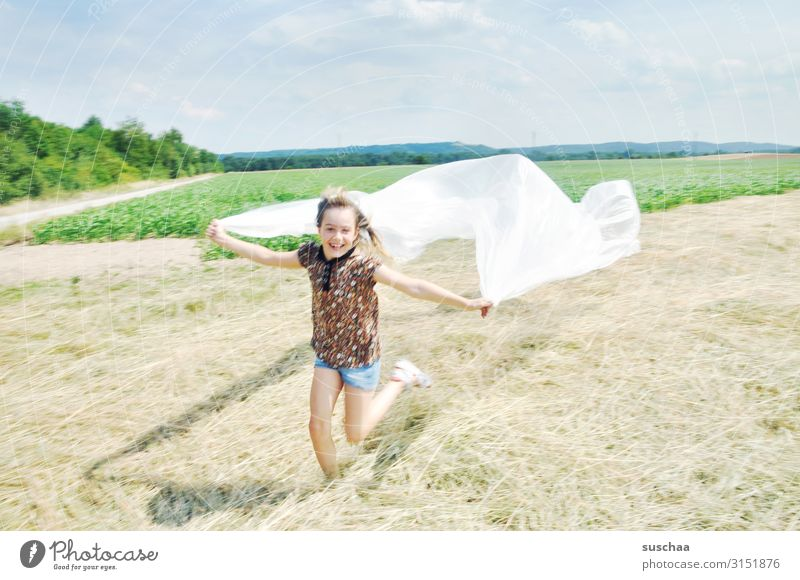 frolicsomely Happiness Exuberance Freedom Child Infancy Playing Happy Joy Running Romp Flying Field Nature plastic plastic tarpaulin plastic foil Environment