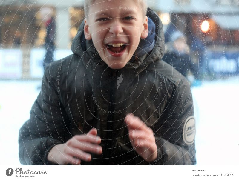 Fun ice skating Ice-skating Boy (child) Infancy Youth (Young adults) Life 8 - 13 years Child Movement Smiling Laughter Sports Authentic Blonde Free Beautiful