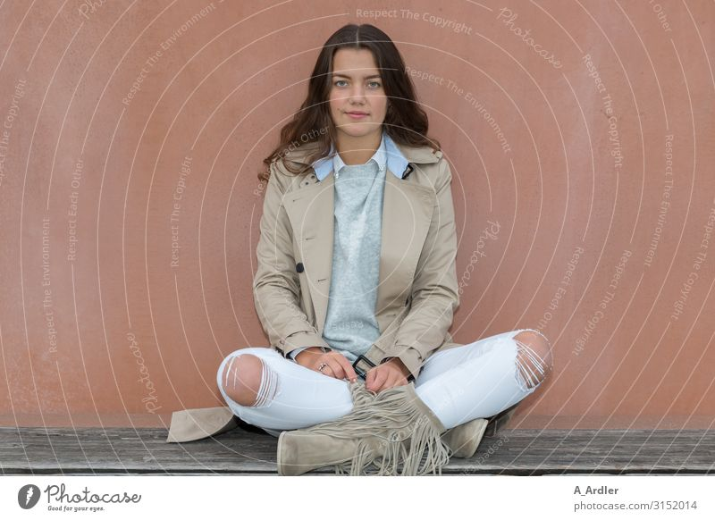 young woman sitting on a bench Lifestyle Elegant Style Beautiful Well-being Contentment Relaxation Bench Human being Feminine Young woman Youth (Young adults)