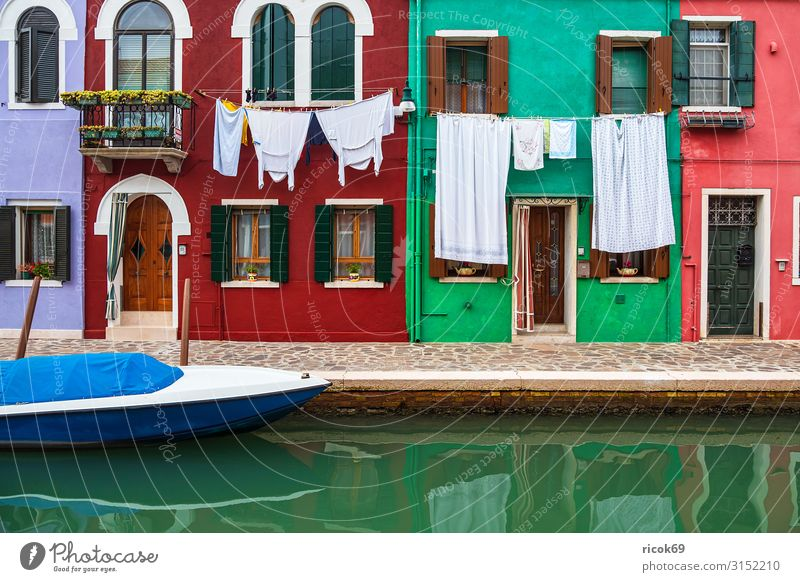 Colourful buildings on the island of Burano near Venice, Italy Relaxation Vacation & Travel Tourism Island House (Residential Structure) Water Town Old town