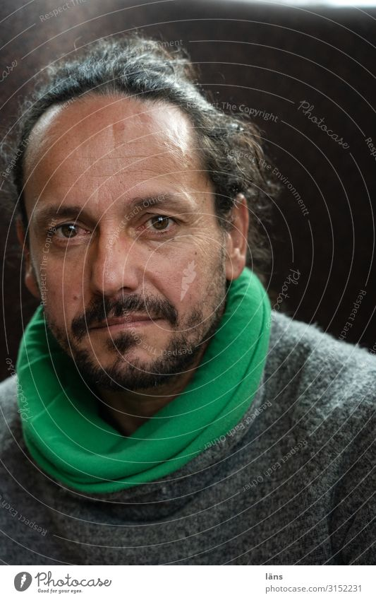 Human being Life Natural Masculine Meditative Observe Facial hair Sweater Stagnating Scarf Secrecy
