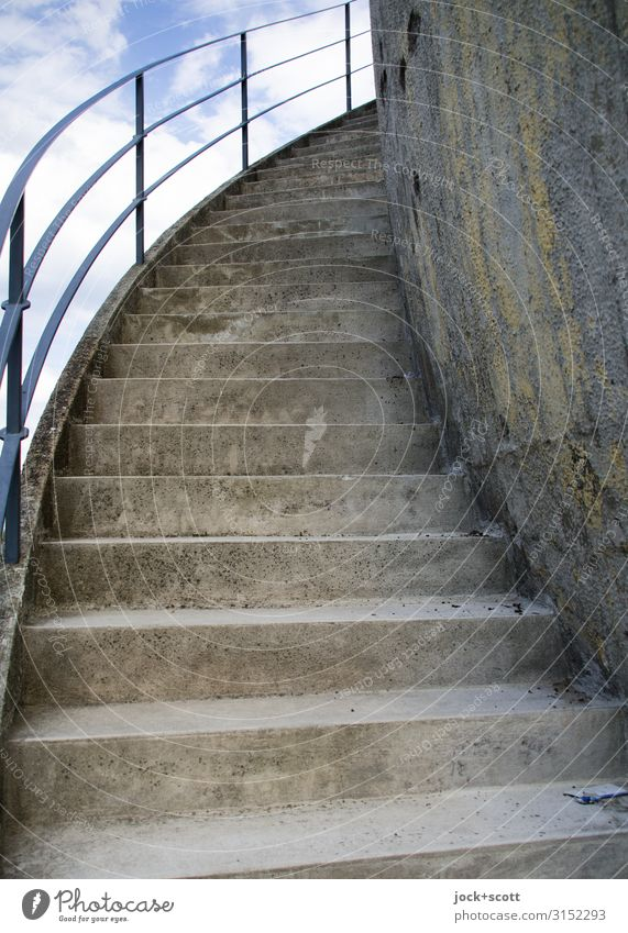 outside staircase Science & Research Sky Treptow Building Stairs Banister Authentic Historic Long Gray Safety Arrangement Quality Protection Past Lanes & trails