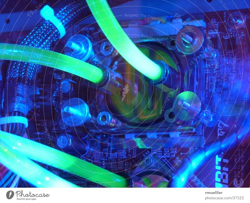 watercooled Computer Water-cooling Long exposure Macro (Extreme close-up) Electrical equipment Technology Modding Colour