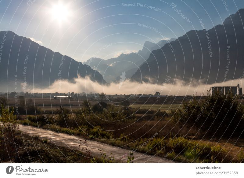 Fog in the valley of the Pindos Mountains near Konitsa Vacation & Travel Environment Nature Landscape Clouds Sunrise Sunset Summer Rock Greece Trust