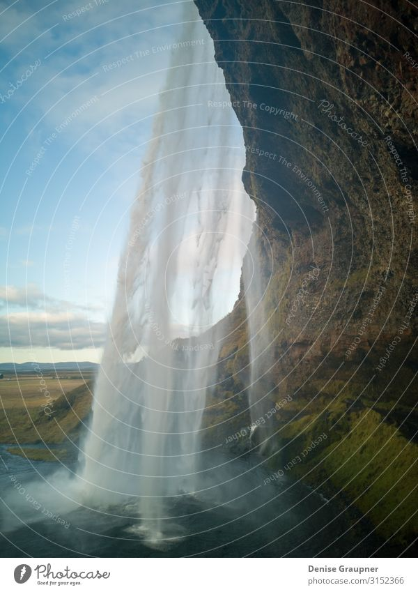 View behind a waterfall on Iceland Vacation & Travel Tourism Sightseeing Summer Environment Nature Landscape Water Climate Beautiful weather Waterfall Power