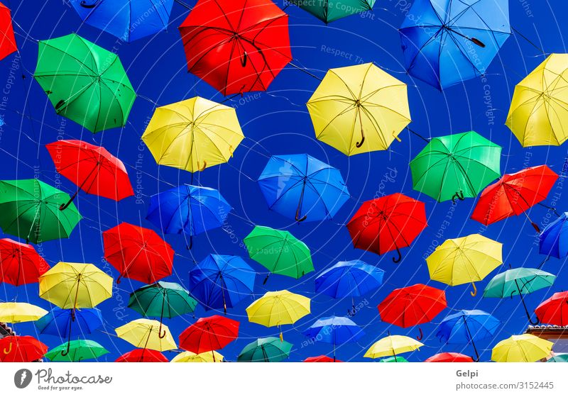 Colorful umbrellas Style Beautiful Sun Decoration Art Sky Weather Rain Street To swing Good Bright Blue Yellow Green Protection Colour colorful Rainbow overhead