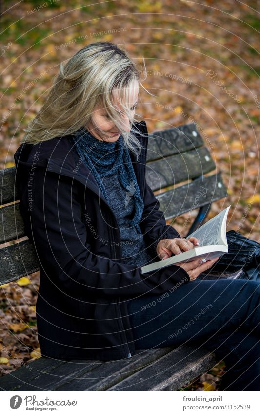 Scroll | UT HH19 Calm Reading Education Study Feminine Woman Adults Human being 30 - 45 years Media Print media Book Nature Autumn Leaf Garden Park Forest