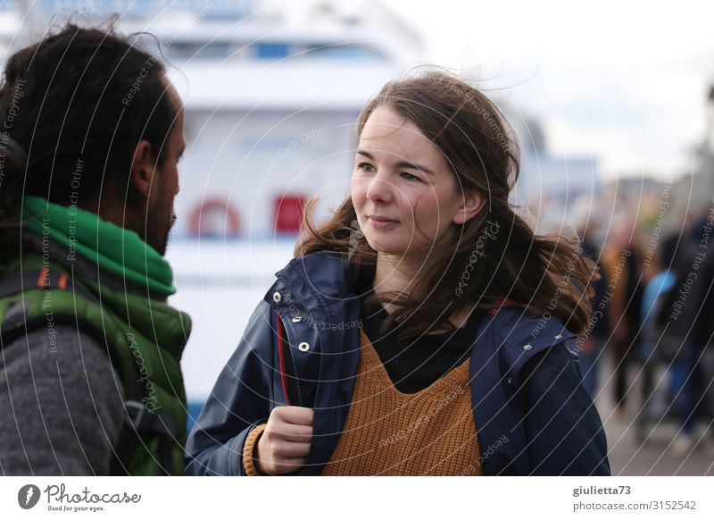 Let's talk... | Young woman talking with man at the docks Masculine Feminine Youth (Young adults) Man Adults Life 2 Human being 18 - 30 years 30 - 45 years