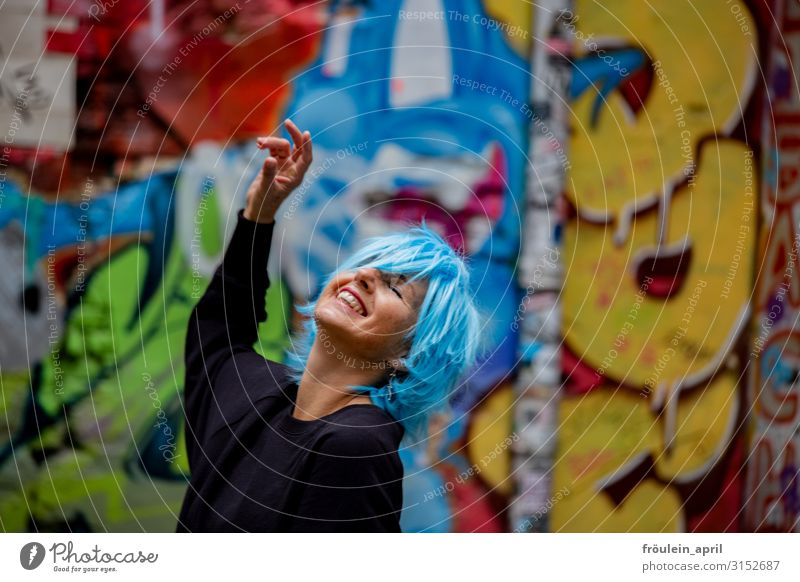 Woman Human being Blue Town Joy Black Adults Life Graffiti Yellow Wall (building) Funny Feminine Laughter Happy Feasts & Celebrations