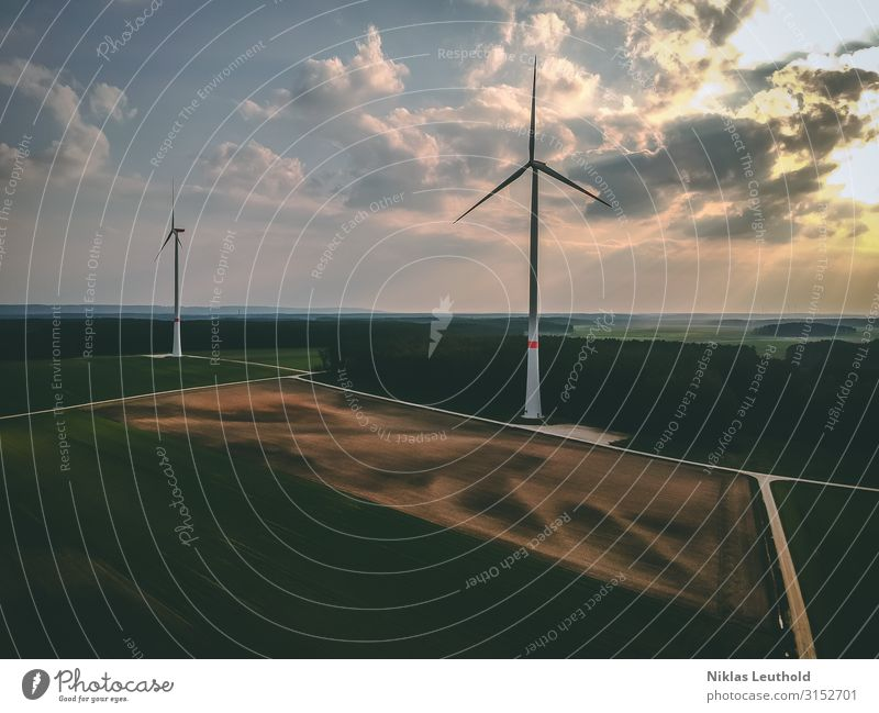 windmills Technology Advancement Future Energy industry Renewable energy Wind energy plant Environment Spring Summer Climate change Weather Meadow Field Forest