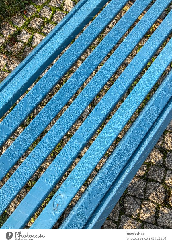 Rain bench - park bench seating break Autumn Climate Climate change Weather Bad weather Sit Wet Blue Solidarity Help Indifferent Comfortable Relaxation