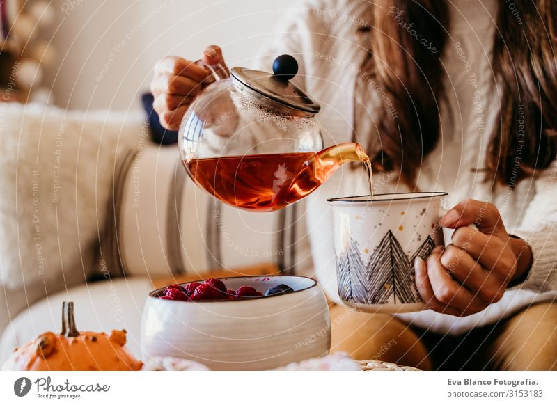 woman having a cup of tea at home during breakfast. Cute golden retriever dog besides. Healthy breakfast with fruits and sweets. lifestyle indoors Woman Dog