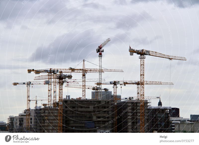 Architecture Building Stone Brown Gray Work and employment Metal Arrangement Stand Authentic Uniqueness Hamburg Concrete Construction site Manmade structures