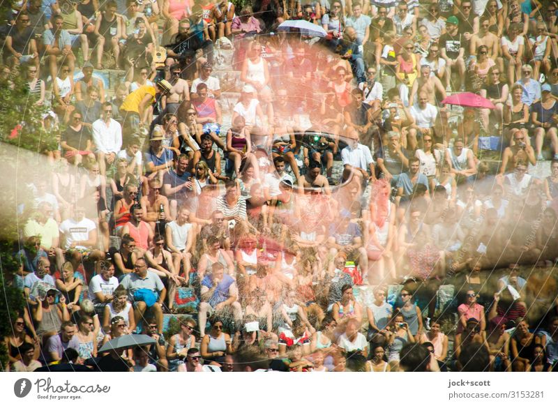 Harmony with you Joy Face 1 Human being Crowd of people 45 - 60 years Adults Event Sunglasses Observe Listen to music Sit Exceptional Happiness Uniqueness Many