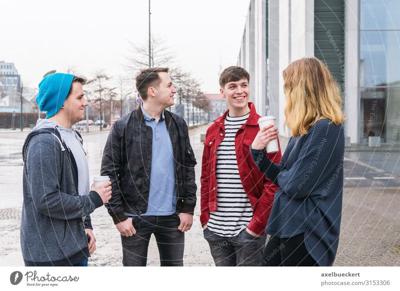 Group of friends talking on the street Drinking Coffee Latte macchiato Mug Lifestyle Leisure and hobbies University & College student Human being Young woman