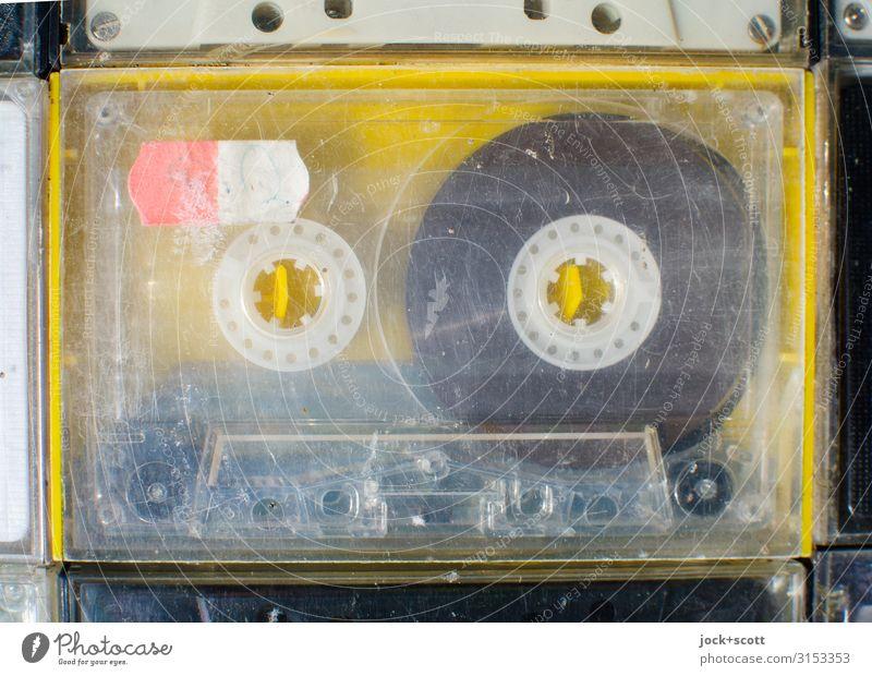 MC compact cassette used and worn Entertainment electronics Tape cassette Collector's item Plastic Scratch mark Authentic Original Retro Yellow Passion Design