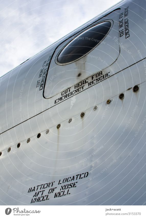 Battery located Airplane Rivet Metal Rust English Typography Word Lettering Signage Authentic Glittering Historic Retro Disciplined Design Nostalgia Past