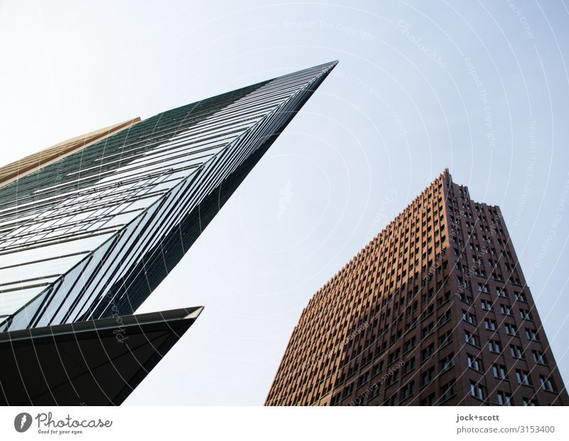 new and existing buildings Luxury City trip Architecture Cloudless sky Potsdamer Platz Downtown High-rise Office building New building Facade Tourist Attraction