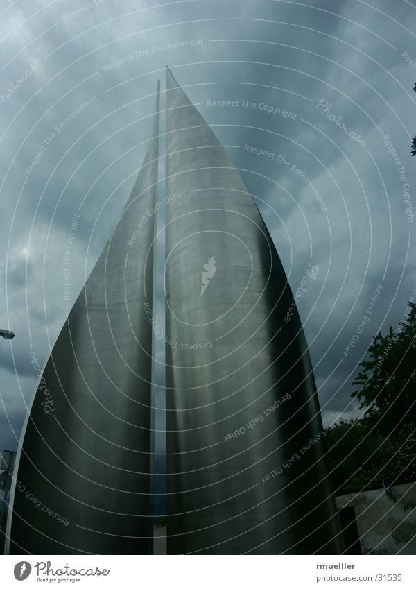 Mounting misfortune Monument Dark Aluminium Wide angle Art Obscure Nature Thunder and lightning Rain Modern