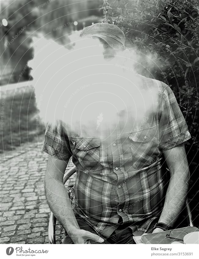 Without steam no.... Masculine Young man Youth (Young adults) 1 Human being 45 - 60 years Adults baseball cap Smoking Relaxation Black & white photo