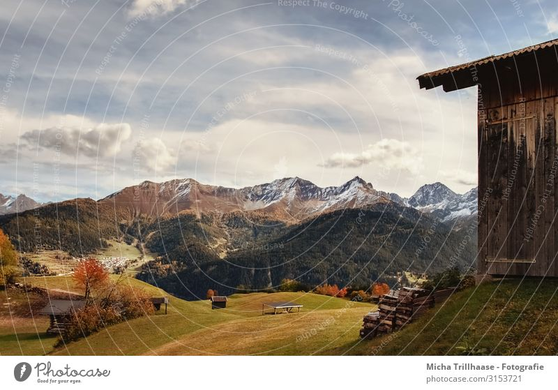 Huts, mountains and valleys in the Austrian Alps Vacation & Travel Tourism Sun Mountain Hiking Nature Landscape Sky Clouds Autumn Beautiful weather Tree Peak