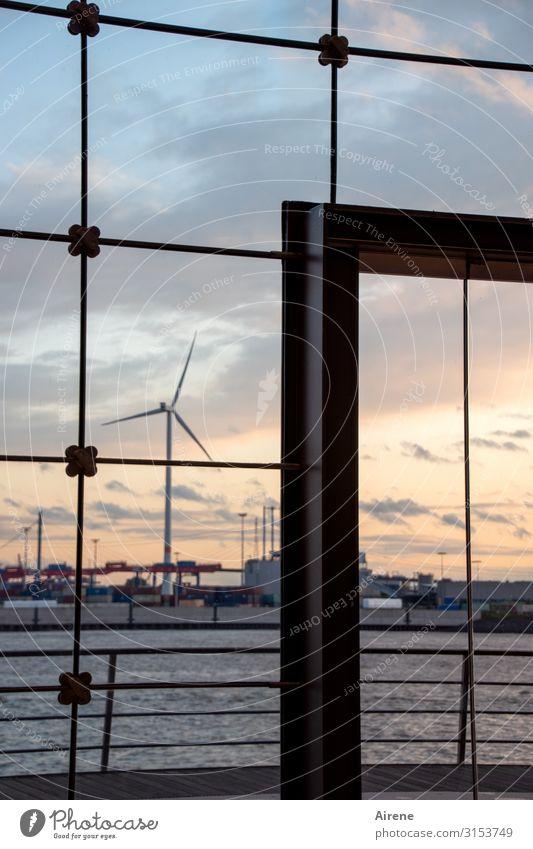 in the frame | UT Hamburg Wind energy plant Industry Sky Sunrise Sunset Port of Hamburg Window Glass door Glas facade Glazing Doorframe Harbour Movement Rotate