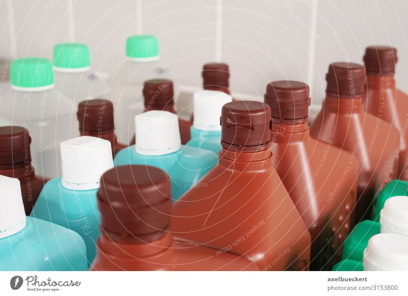 disinfectants Hospital Health care Plastic packaging Clean Many Row Bottle Disinfection Cleaning agent Sterile Colour photo Interior shot Close-up Detail