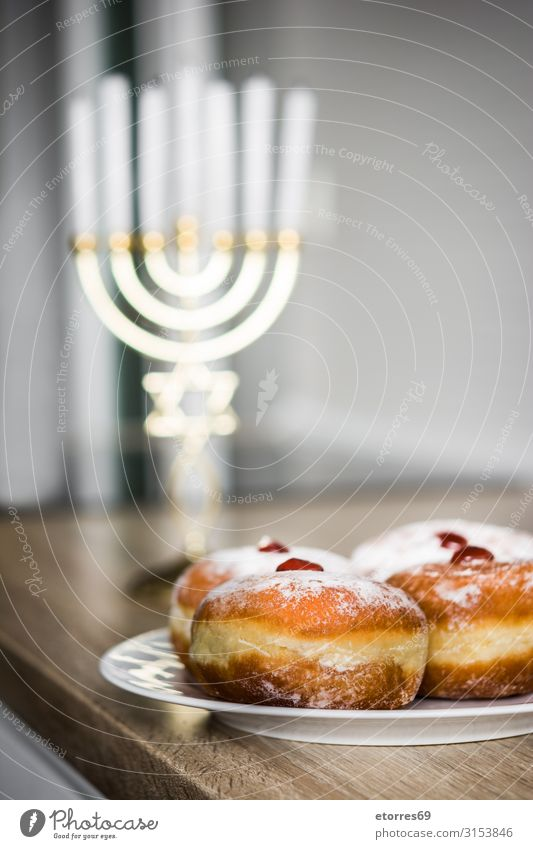 Jewish Hanukkah menorah and sufganiyot donuts Blue White Background picture Religion and faith Feasts & Celebrations Pink Decoration Sweet Illuminate Gold