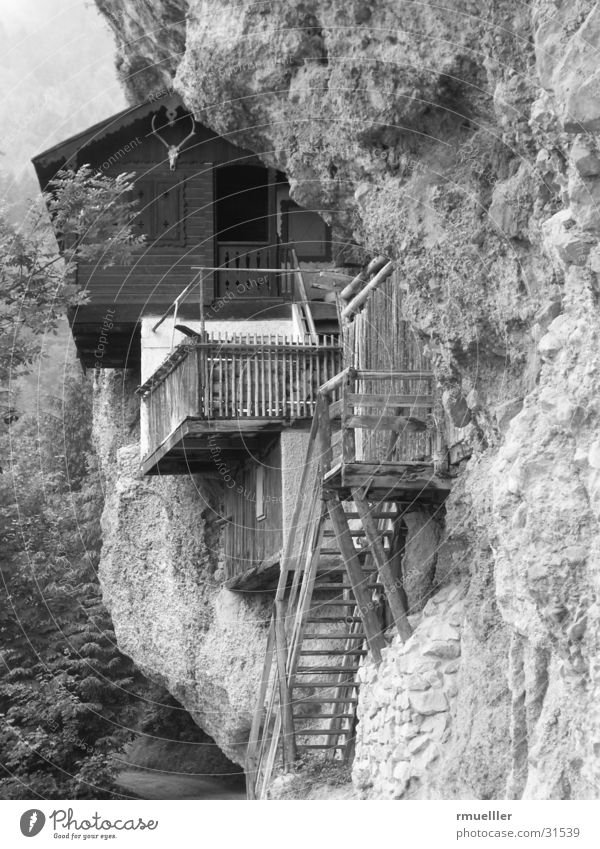 mountain holiday Wall (building) Hunter House (Residential Structure) Forest Mountain Hut Rock Nature B/W Black & white photo