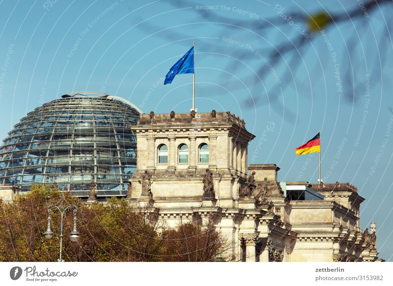 Reichstag building Architecture Berlin Germany German Flag Capital city Parliament Government Seat of government Government Palace Spree Spreebogen Europe