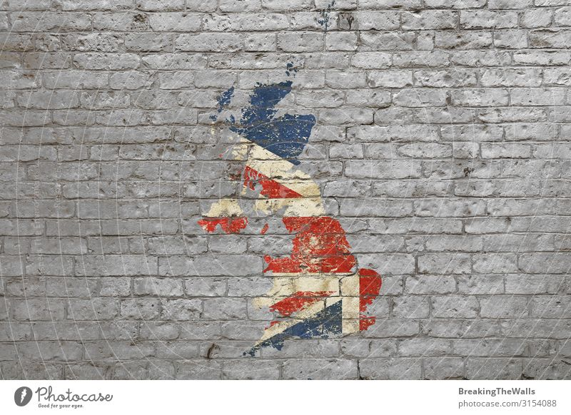 Flag map of Britain painted on brick wall Style Design Art Work of art Painting and drawing (object) Culture Stone Graffiti Faded Blue Gray Red White Map