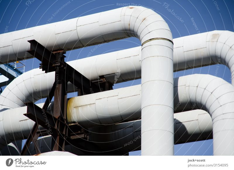 Pipeline in front of a blue sky Energy industry Cloudless sky Bracket Classification Metal Rust Network Authentic Hideous Long Gray Arrangement Weathered
