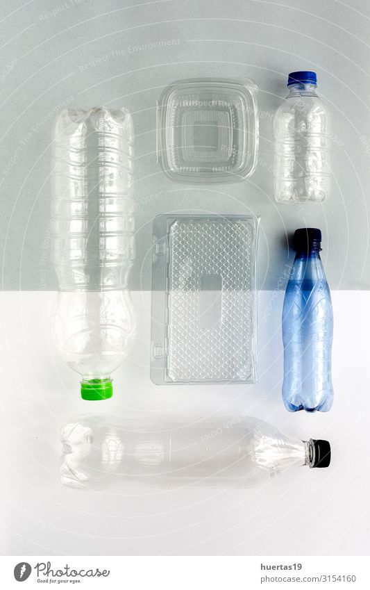 Plastic bottles to recycle. Knolling concept Bottle Industry Environment Container Green White Environmental pollution Environmental protection Recycling