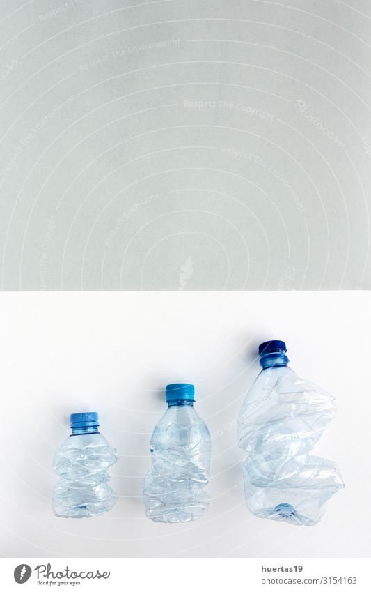 Plastic bottles to recycle. Knolling concept Beverage Bottle Industry Environment Container Plastic packaging Green White Environmental pollution Recycling