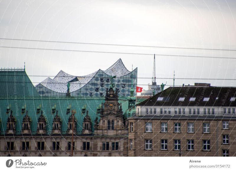 Harmony in the cityscape | UT Hamburg Sky Bad weather Port City Downtown House (Residential Structure) Architecture Facade Tourist Attraction