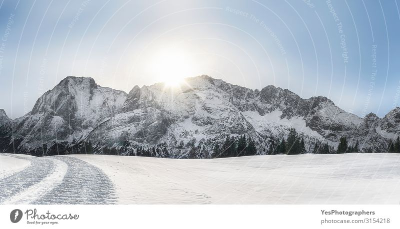 Winter snowy panorama with Alps mountains and snow Snow Mountain Nature Landscape Climate change Weather Beautiful weather Peak Bright White Austrian Alps