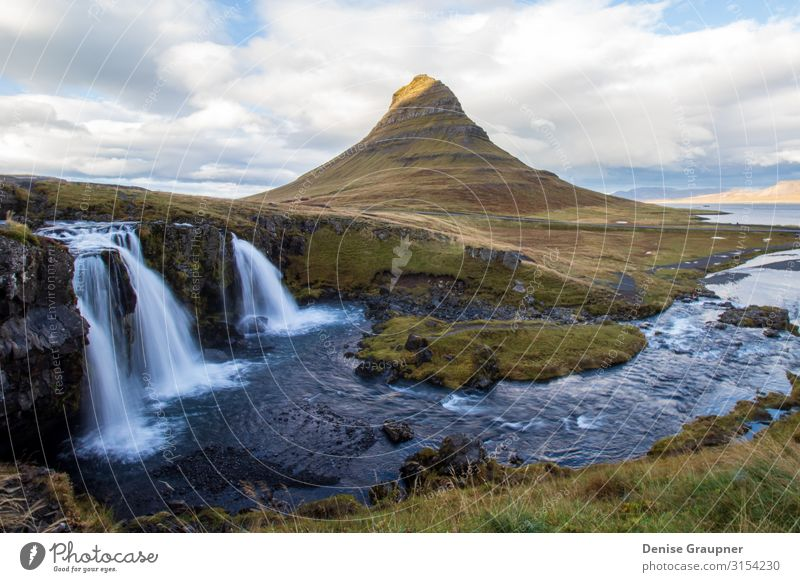 Kirkjufell Iceland Vacation & Travel Summer Nature Power beautiful Icelandic landmark landscape natural river tourism view water waterfall Background picture