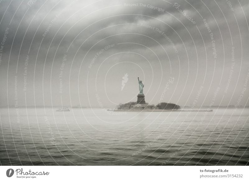 Grey Day for Lady Liberty Vacation & Travel Tourism Trip Sightseeing City trip Elements Water Sky Clouds Storm clouds Fog Rain Waves Coast Ocean New York City