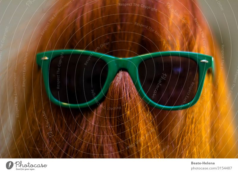 masquerade Exotic Joy Beautiful Carnival Work of art Tourist Attraction Sunglasses Hair and hairstyles Red-haired Long-haired Sign Breathe Select Relaxation