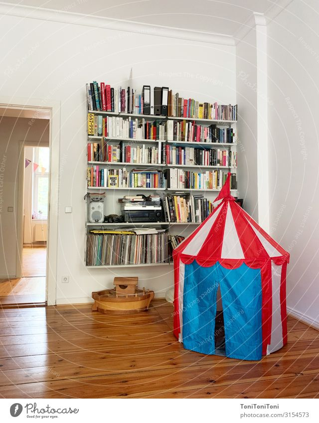 "habitation Playing Living or residing Flat (apartment) Decoration Living room Book ""Living room,"" Tent Bookshelf dieter rams Colour photo Interior shot Deserted"