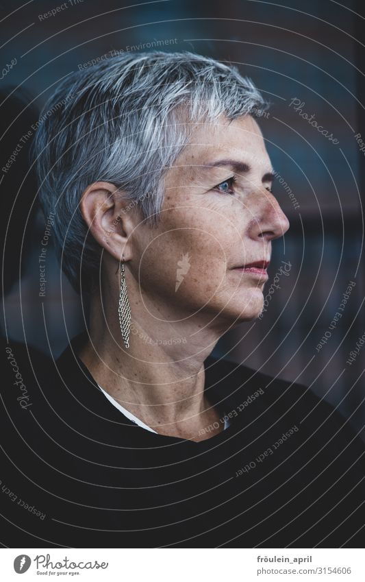 Far-sightedness | UT HH19 Feminine Woman Adults Head Human being 45 - 60 years Earring White-haired Short-haired Old Observe Think Dream Wait Elegant Beautiful