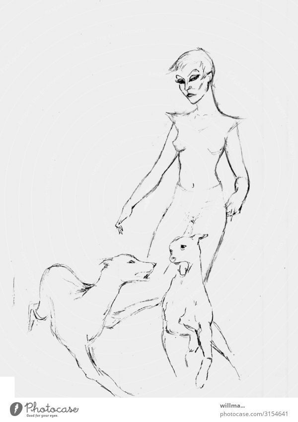 Sketch of a woman with two dogs Drawing Conceptual design Illustration Woman Feminine Dog 2 dog owner Art Dominant Copy Space Neutral Background B/W