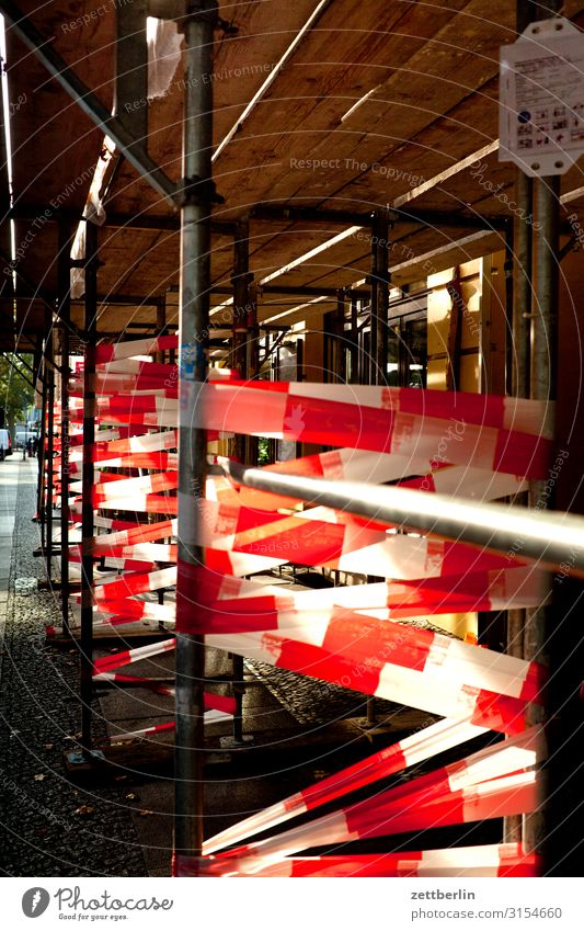 White Red Copy Space Living or residing Flat (apartment) Construction site Protection Safety Barrier Caution Old building Scaffold Residential area Scaffolding